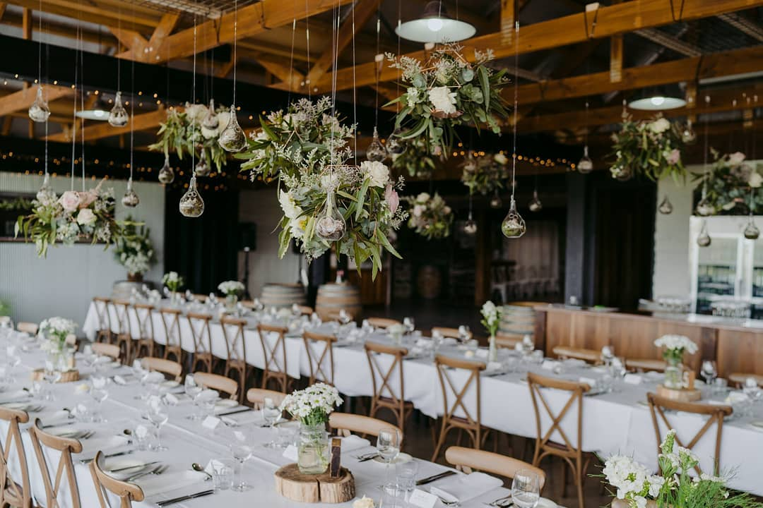 Wedding reception with white flowers